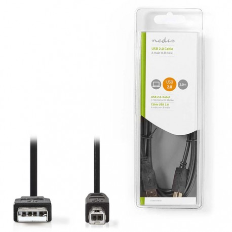 NEDIS CCGB60100BK20 USB 2.0 Cable A Male - B Male 2.0 m Black