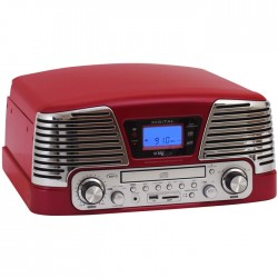 BIGBEN TD79RM RED RETRO RADIO/TURNTABLE/CD/MP3/USB