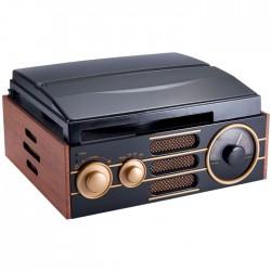 BIGBEN TD101 WOODEN RETRO RADIO/TURNTABLE