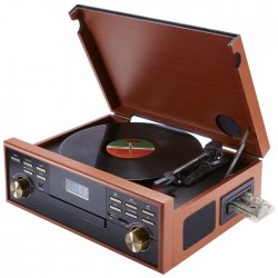 BIGBEN TD113 WOODEN RETRO RADIO/TURNTABLE/CD/MP3/USB/TAPE