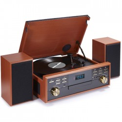 BIGBEN TD113SPS WOODEN RETRO RADIO/TURNTABLE/CD/MP3/USB/TAPE (SPEAKER SET)