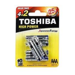TOSHIBA AAA LR03  ΑΛΚΑΛΙΚΗ ΜΠΑΤΑΡΙΑ Blister 4 τεμ + 2 Δώρο
