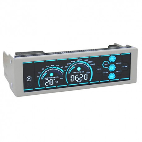 """LC-POWER FAN CONTROLLER FOR A 5,25"""" DRIVE BAY FOR UP TO 6 FANS WHITE CASE BLUE LED"""
