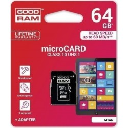 GOODRAM MICRO SD CARD 64GB CL 10 WITH ADAPTER M1AA