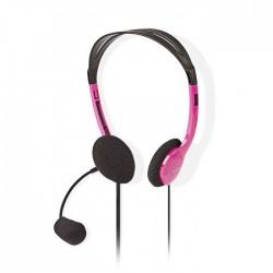 NEDIS CHST100PK PC Headset On-Ear 2x 3.5 mm Connectors 2.0 m Pink