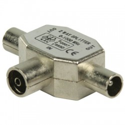 VLSP 40950M T-splitter coax female - 2x coax male metal