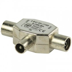 VLSP 40951M Coax T-splitter coax male - 2x coax female metal