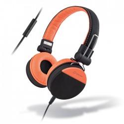 MELICONI MYSOUND SPEAK STYLE BLACK/ORANGE ON-EAR STEREO HEADPHONE (WITH MICROPHO