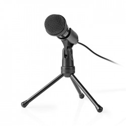 NEDIS MICTJ100BK Wired Microphone On/Off Button With Tripod 3.5 mm