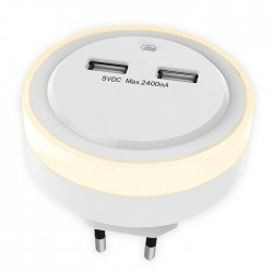 SONORA RING LIGHT USB NIGHT LIGHT WITH 2 USB PORTS, LIGHT SENSOR AND SWITCH
