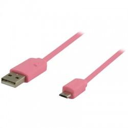 VLMP 60410 P1.00 PINK USB 2.0, A Male - Micro B Male, 1.00 m