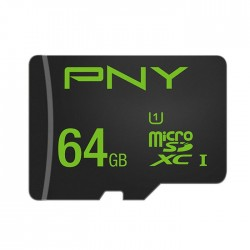 PNY SDU64GPER50-EF 64GB MICRO-SD XC CLASS 10/UHS-I  U1+SD ADAPTER