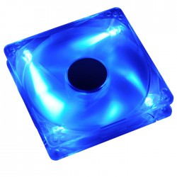 AKASA 274CB-4BLS 12CM CRYSTAL BLUE W/4 LED FAN - SLEEVE