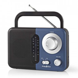 NEDIS RDFM1300BU FM Radio, 2.4 W, Carying Handle, Black / Blue