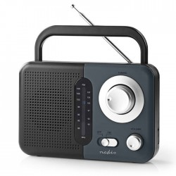 NEDIS RDFM1300GY FM Radio, 2.4 W, Carying Handle, Black / Grey