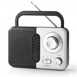 NEDIS RDFM1300WT FM Radio, 2.4 W, Carying Handle, Black / White