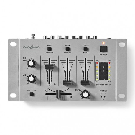 NEDIS MIXD050GY DJ Mixer, 3 Stereo Channels, Crossfader, Talkover Function