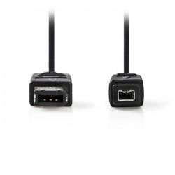 NEDIS CCGP62100BK20 FireWire Cable, 4-pin Male - 6-pin Male, 2m, Black