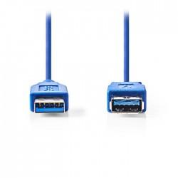 NEDIS CCGP61010BU20 USB 3.0 Cable, A Male - A Female, 2m, Blue