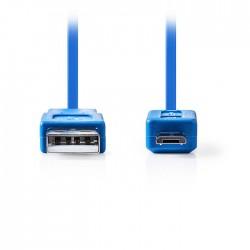NEDIS CCGP60410BU10 USB 2.0 Cable, A Male - Micro B Male, 1m, Blue