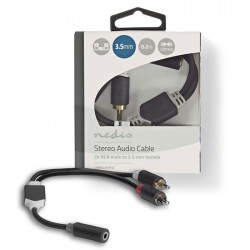 NEDIS CABW22255AT02 Stereo Audio Cable, 2x RCA Male - 3.5 mm Female, 0.2m , Anth