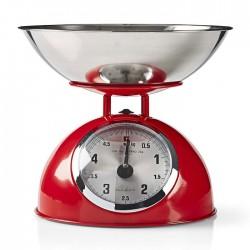 NEDIS KASC110RD Retro Kitchen Scales, Analogue, Metal, Red