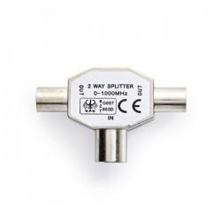 NEDIS CSGP40951ME Coax Splitter IEC (Coax) Male-2x IEC (Coax) Female, Metal
