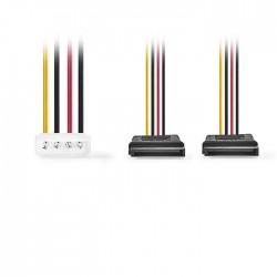 NEDIS CCGP73520VA015 Internal Power Cable Molex Male-2x SATA 15-pin Female 0.15m