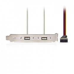 NEDIS CCGP74800GY05 USB 2.0 PC Bracket 2x A Female-8-Pin Female 0.5m Grey