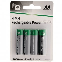 HQHR6-2000/4ΤΕΜ 2000 mAh, Rechargeable  NiMH AA battery 4-blister