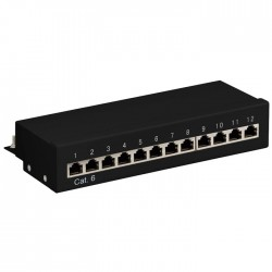 69307 CAT6 ETHERNET PATCH PANEL 12PORT STP BLACK