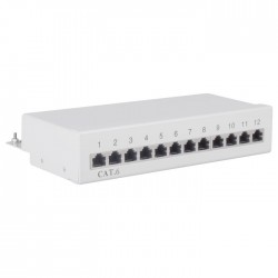 69306 CAT6 ETHERNET PATCH PANEL 12PORT STP GREY