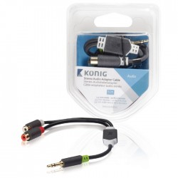 KNA 22250E02 Stereo Audio Cable 3.5 mm Male-2xRCA Female 0.20 m