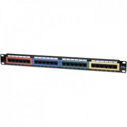 "INT 513678 19"" 1U CAT5e COLOR-CODED PATCH PANEL 24PORT UTP BLACK"