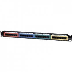 "INT 513692 19"" 1U CAT6 COLOR-CODED PATCH PANEL 24PORT UTP BLACK"