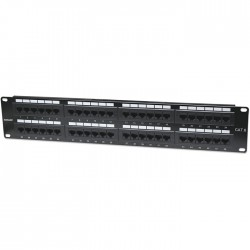 "INT 560283 19"" 2U CAT6 ETHERNET PATCH PANEL 48PORT UTP BLACK"