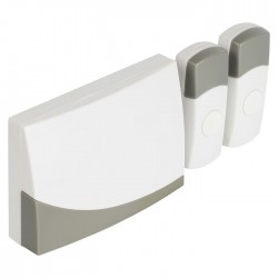 SAS-WDB 221 Wireless Doorbell Set, 2 transmitters, Battery Powered 80 dB White/G
