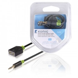 KNA 22100E 0.20 Stereo Audio Cable 3.5 mm Male - 2x 3.5 mm Female 0.20 m Anthrac