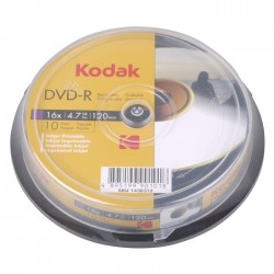 KODAK DVD-R Printable 16x 4.7GB 10-Pack
