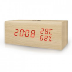 LIFE WES-106 Block wooden Thermometer/hygrometer with clock and alarm(natural re