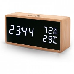 LIFE WES-108 BAMBOO Thermometer/hygrometer with clock and alarm,LED digits