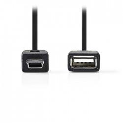 NEDIS CCGP60315BK02 USB 2.0 On-the-go Cable, Mini 5-pin Male - A Female, 0.2m, B