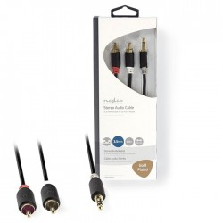 NEDIS CABW22200AT05 Stereo Audio Cable 3.5 mm Male - 2x RCA Male 0.5 m Anthracit