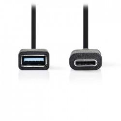 NEDIS CCGP61710BK02 USB 3.0 Cable Type-C Male - A Female 0.15m Black