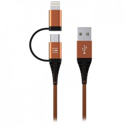 SAS 100-16-002 DURABLE ΚΑΛΩΔΙΟ USB - 2in1 LIGHTNING & MICRO 2M, ΠΟΡΤΟΚΑΛΙ