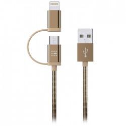 SAS 100-16-006 LUXURY ΚΑΛΩΔΙΟ USB - 2in1 LIGHTNING & MICRO 1.2M, ΧΡΥΣΟ
