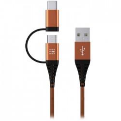 SAS 100-16-009 DURABLE ΚΑΛΩΔΙΟ USB - 2in1 TYPE C & MICRO 2M, ΠΟΡΤΟΚΑΛΙ