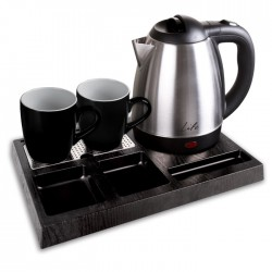 LIFE HTK-001 Welcome Tray for Hotels, with inox water kettle 1.2L and 2 ceramic