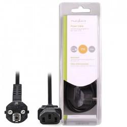 NEDIS CEGB10000BK20 Power Cable Schuko Male Angled - IEC-320-C13 2.0m Black